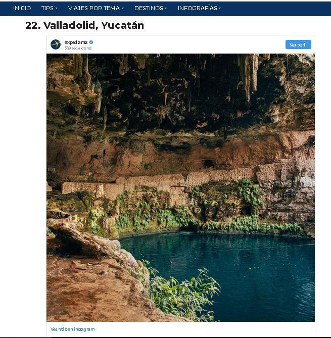 Valladolid Yucatan entre los mejores destinos de México (Expedia 2018)