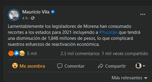 Gobernador Mauricio Vila lamenta recortes al presupuesto 2021 por diputados de Morena