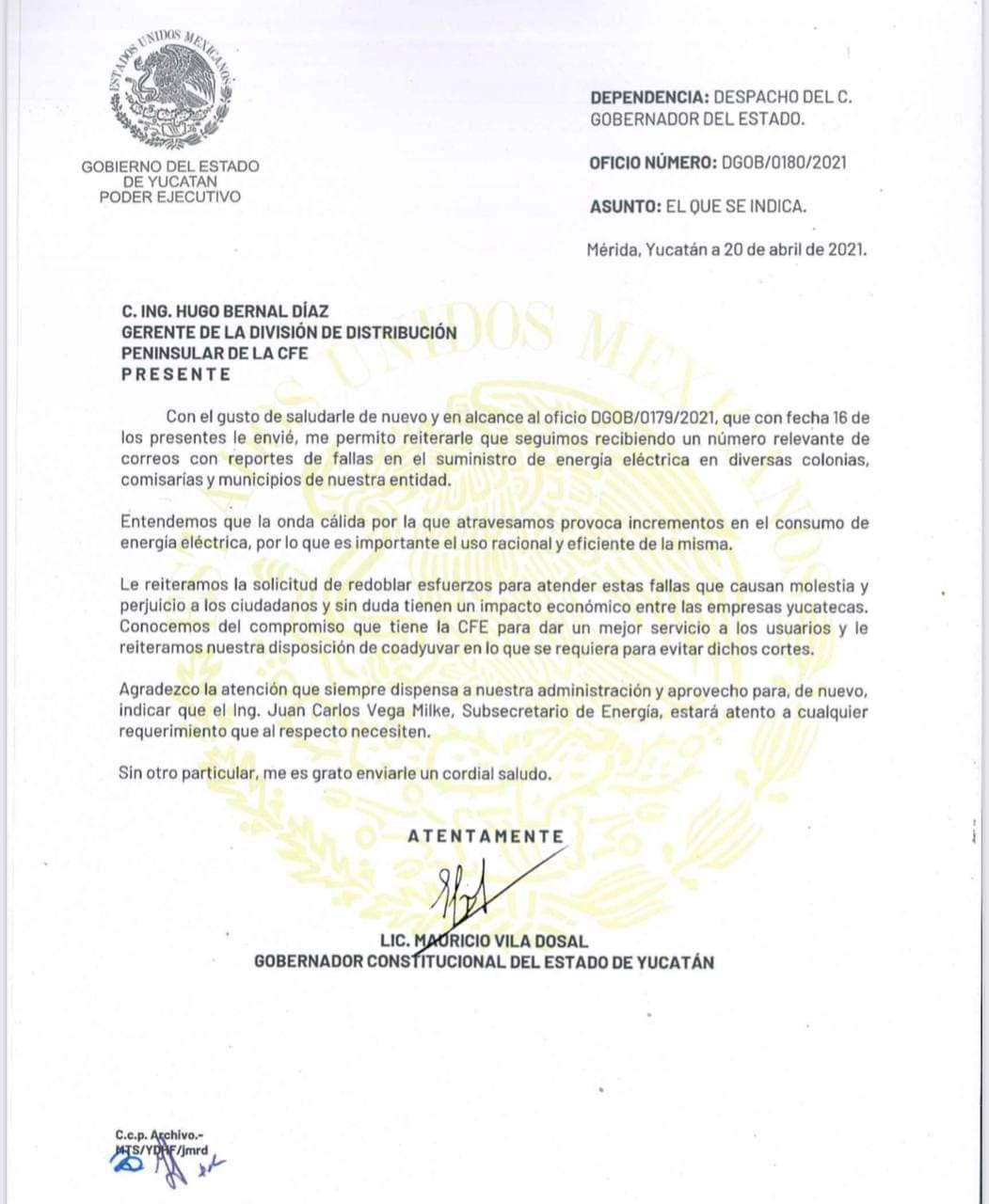 Gobernador Mauricio Vila envía oficio a CFE por constantes fallas en suministro