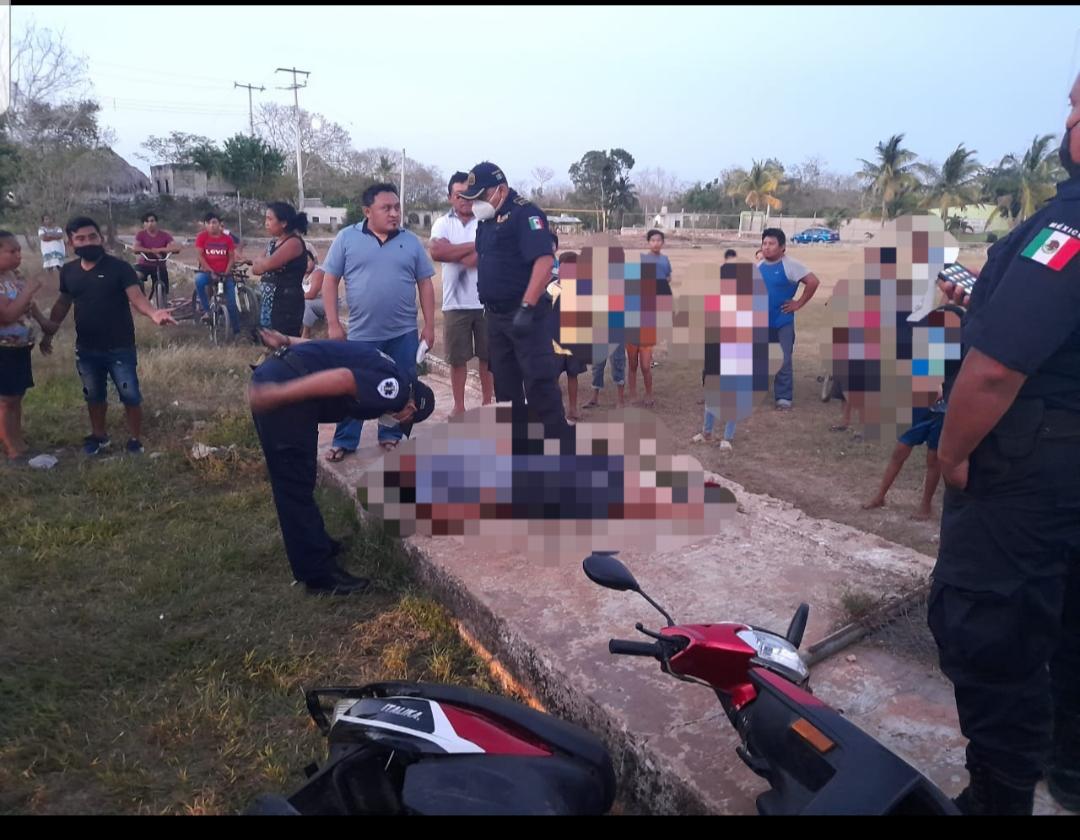 Motociclista se barre en Uayma