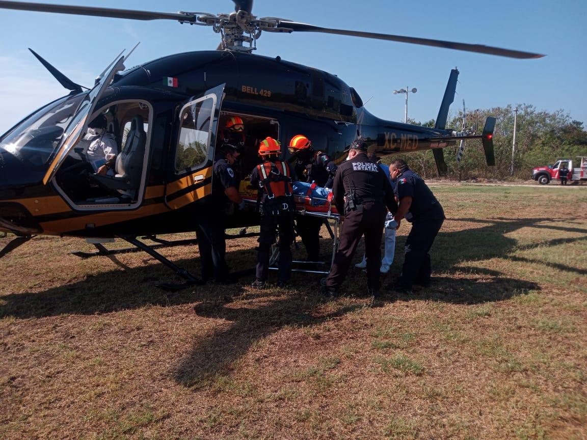 Motociclista en Ticul trasladado en helicóptero a Mérida