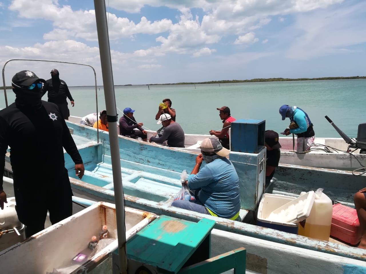 7 Personas detenidas en alta mar, por pesca de pulpo y caracol.