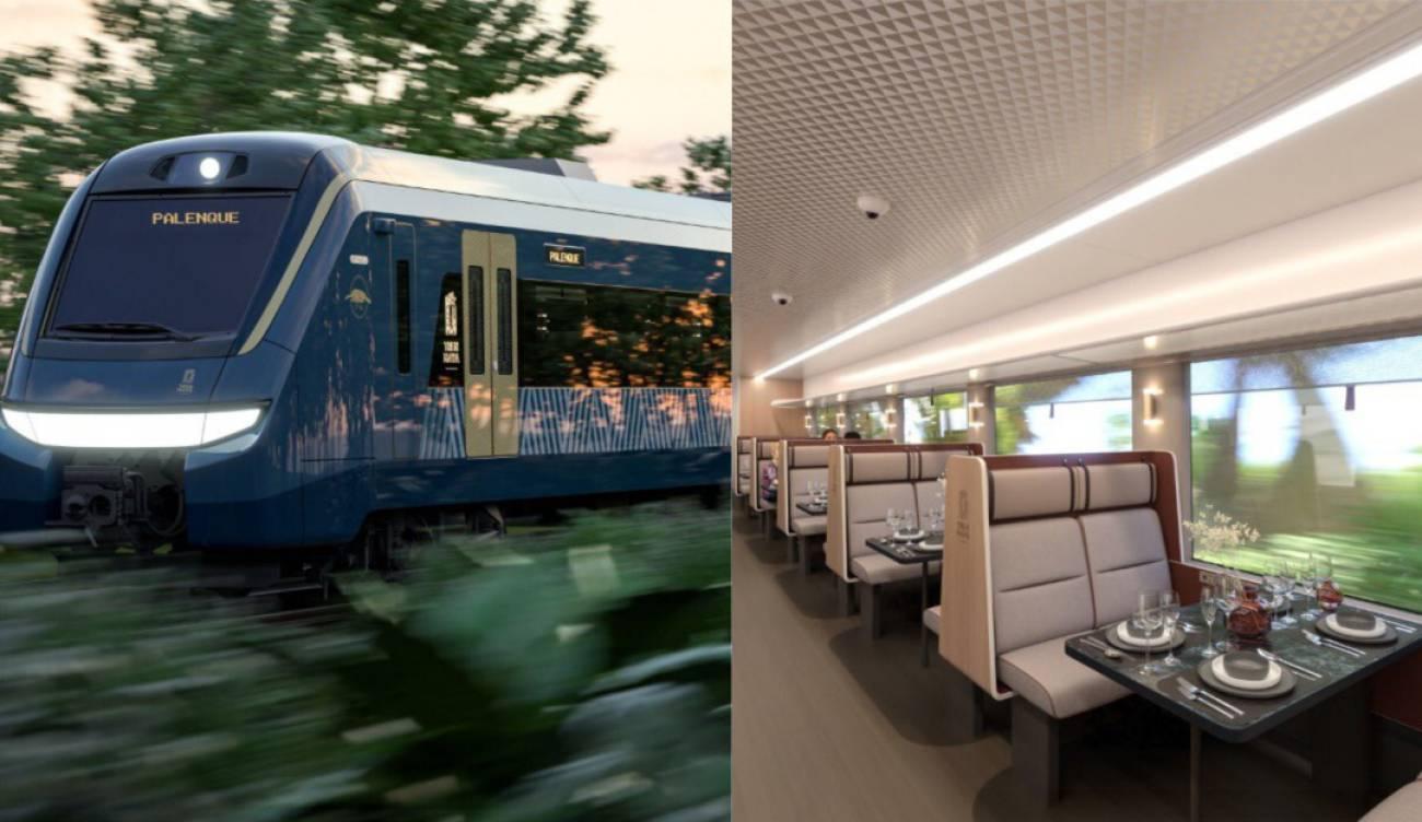 Así será el interior del Tren Maya. Camarotes y restaurante