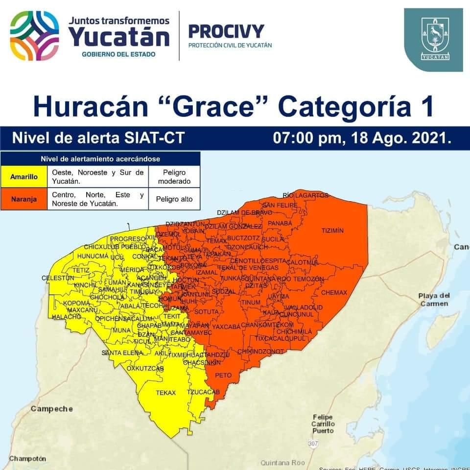 Alerta Naranja en una parte de Yucatán y suspensión de labores