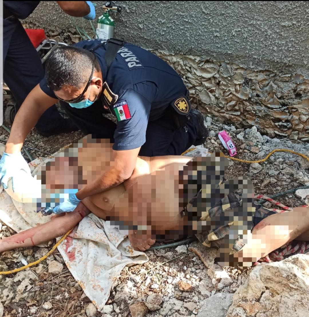 Rescatan a persona que cayó en un pozo en Buctzotz